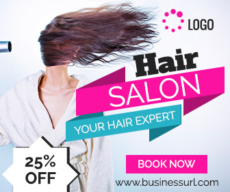 Hair salon ad banner template online service ad design for Salon designer online