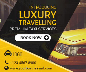 Taxi Service Ad Banner | Cab Booking Template | Affordable