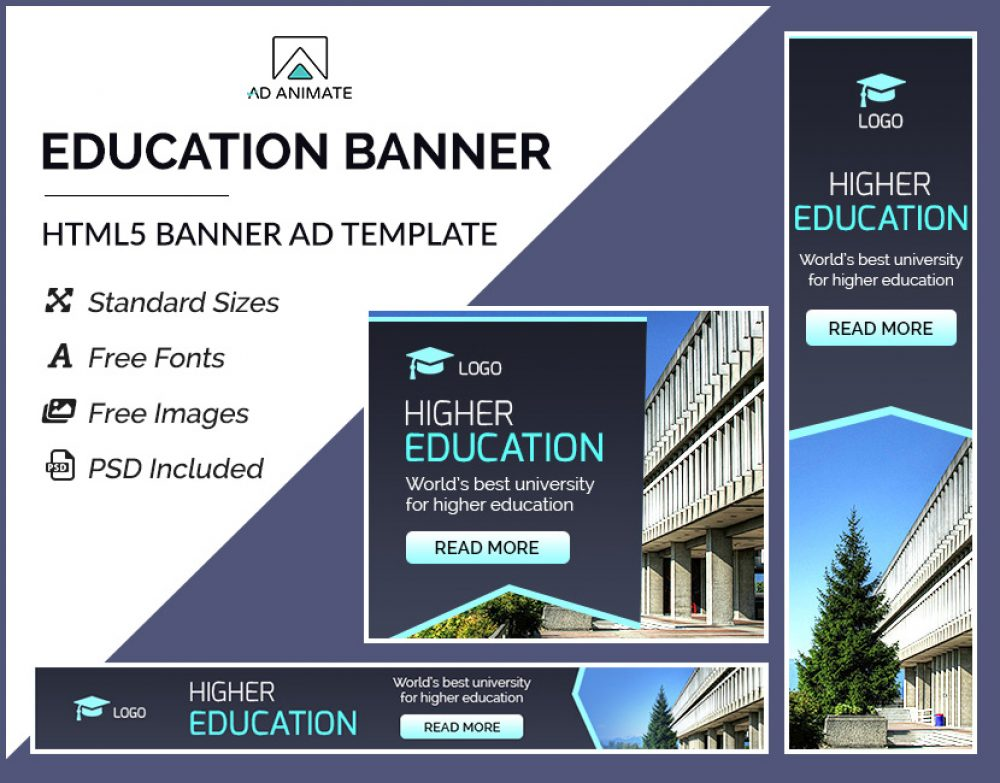 higher education banner education ad templates university banner ads