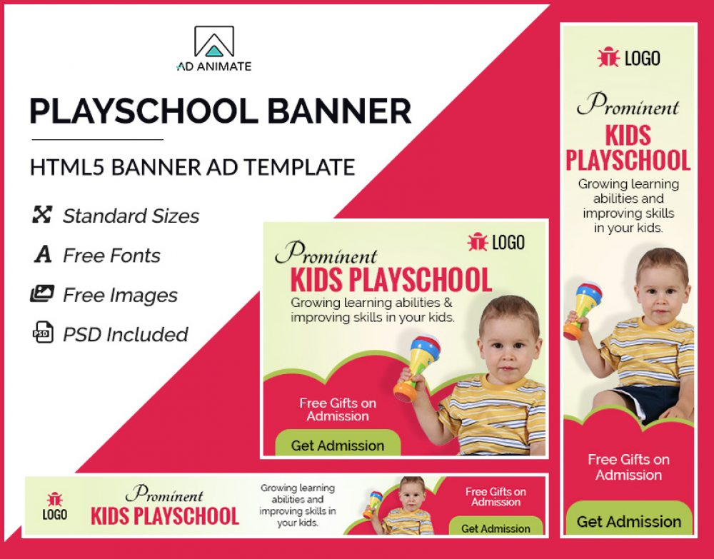 kids playschool ad banner templates