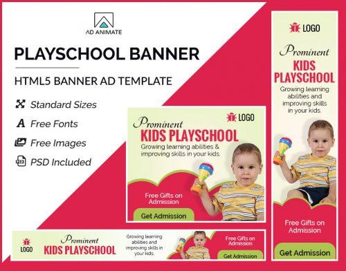 kids playschool ad banner templates