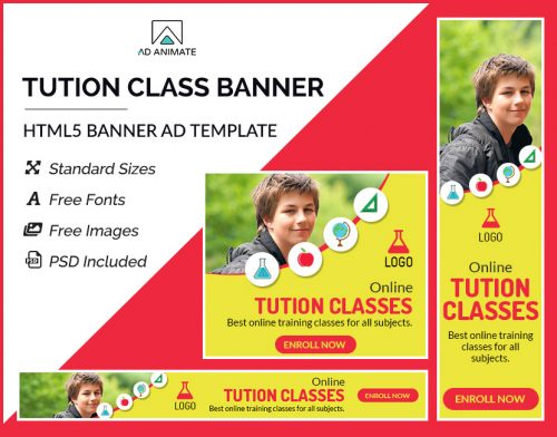 online tution class banner ad templates