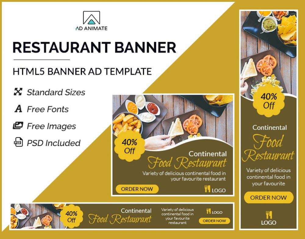 food restaurant banner ad templates