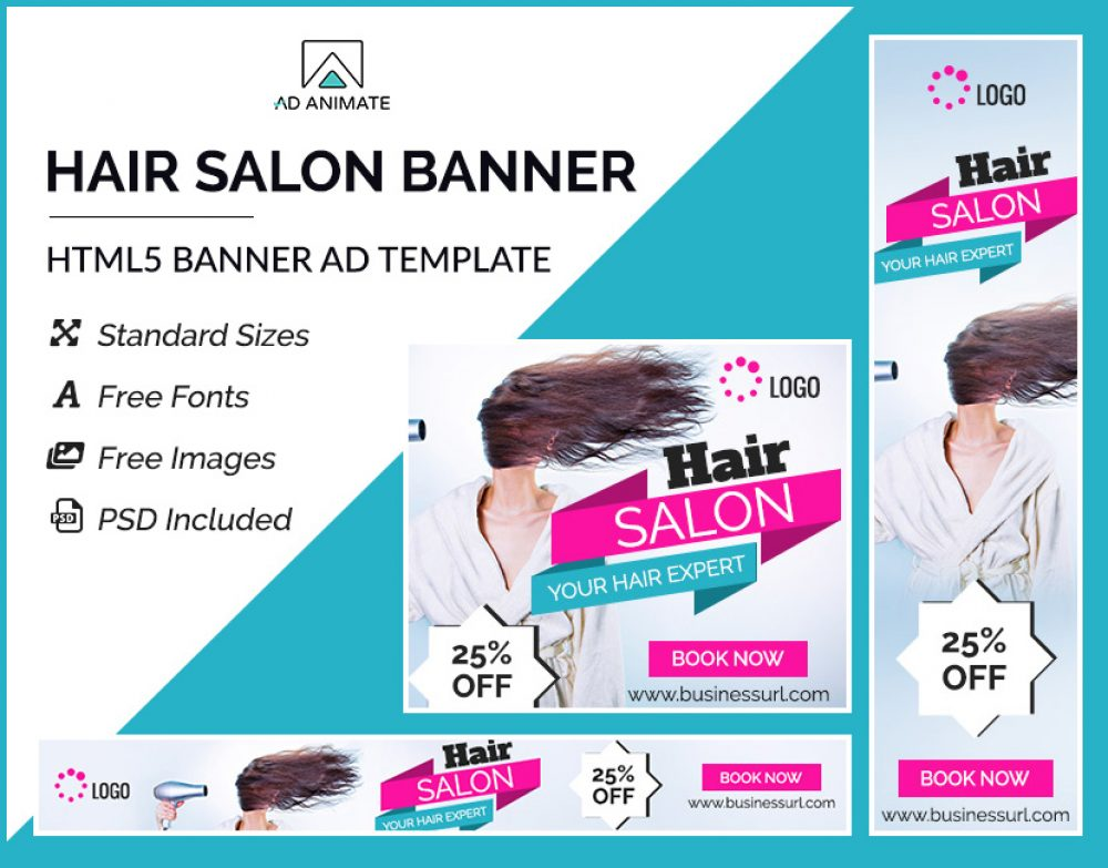 Hair Salon Ad banner template